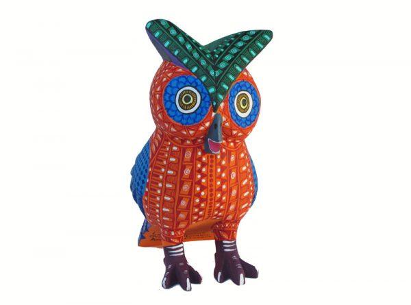 Owl Alebrije, orange/blue