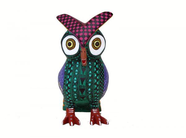 Owl Alebrije, green/purple