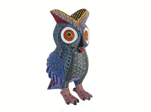 Owl Alebrije Carving, grey body/green wings