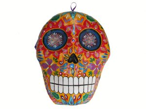Skull Mask Wall Art, papier maché, orange base, 22-inch