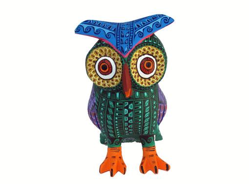 Owl Alebrije, green body/purple wings, 5-inch