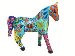 Horse, paper mache figurine, orange head, 12-inch