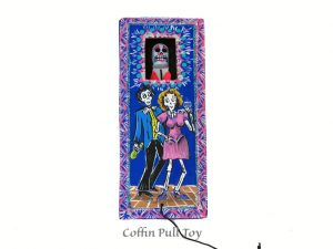 Coffin Pull Toy w/couple illustration
