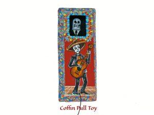 Coffin Pull Toy w/guitarist illustration