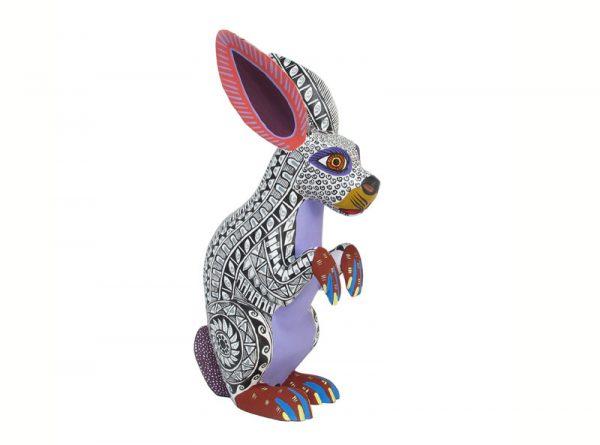 Sitting Rabbit Alebrije, white/lavender