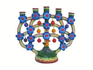 Candelabra with Blue Flowers
