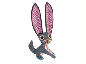 Rabbit Alebrije with big ears, grey/white, 11-inch