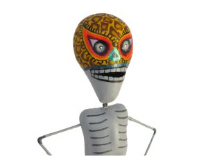 Skeleton Luchador Wrestler, Mexican pottery figurine, leopard mask, #2