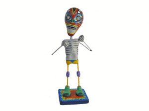 Skeleton Luchador Wrestler, Mexican pottery figurine, red mask, #3
