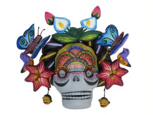 Frida Kahlo Skull with Butterflies, pottery wall art