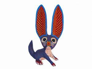 Rabbit Alebrije with Big Ears, purple/white, 9.5-inch