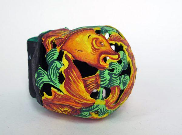 Skull Paper Mache Art, 5-inch, fish design