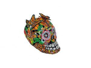Skull, Paper Maché Art, 5-inch, butterflies