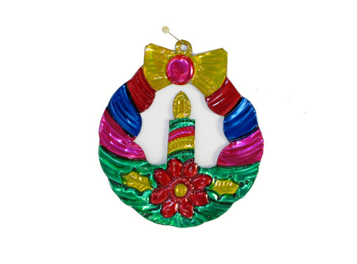Wreath with Candle, tin Christmas ornament, 4-inch