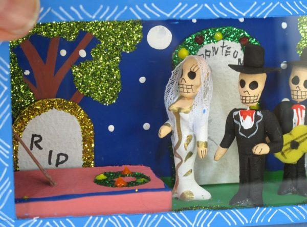 Skeleton Bride, Groom, Mariachis in Cemetery, Diorama Box, 7-inch, blue