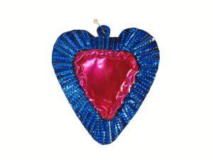 Heart with Blue Border, tin art wall decor