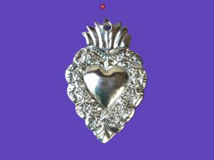 Tin Heart Ornament by Carlos, 4-inch, style #9