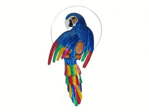 Blue Parrot, Mexican tin wall decor, 18-inch