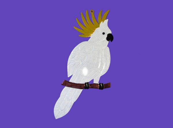 White Cockatoo Bird, Tin Wall Decor, 15-inch