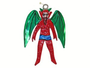 Devil with Green Wings, Mexican tin figure