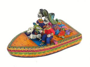 Skeleton Family In Boat, Mexican pottery, 6-inch