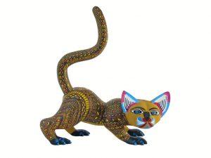 Cat, Brown, Alebrije by Mario and Reina Castellanos, 8-inch