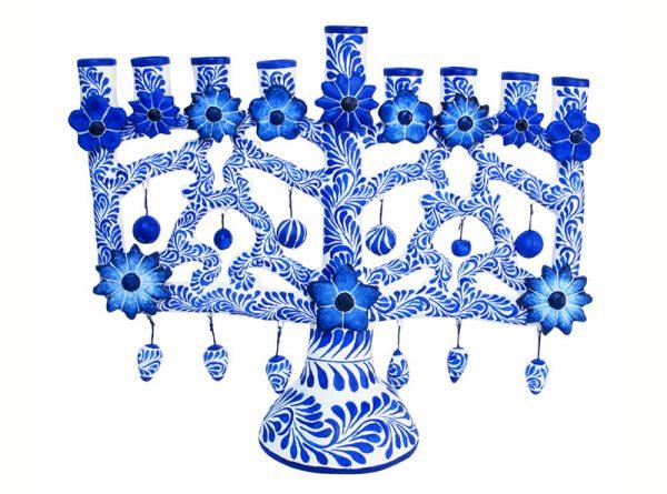 Menorah Candelabra, (blue on white), 21 cm. (10.5-inch tall)