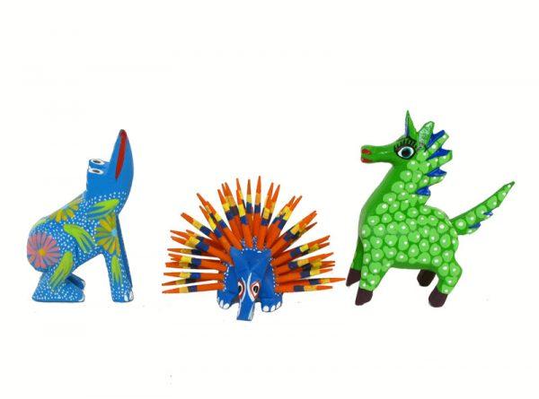 MINI OAXACAN CARVINGS, Set #1 - Five Alebrije Figures