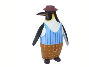 Penguin Wood Carving Figurine by Avelino Perez