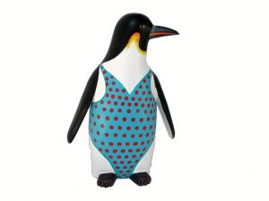 Penguin In Turquoise Dress, Oaxacan Carving by Avelino Perez