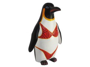 Penguin in Bikini, Oaxacan Wood Carving