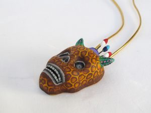 Devil Skull Pendant, with Leopard Pattern, Mexican pottery