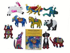 An Animal Collection - Boxed Set of 10 Painted Tin Ornaments