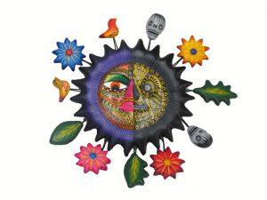 Sun Face, Life/Death, Wall Decor, Mexican Pottery 9-inch