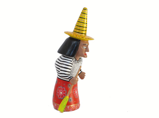 Witch with Red Dress, Oaxacan Carving by Xuana, 6-inch