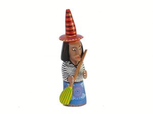 Witch with Blue Dress, Oaxacan Carving by Xuana, 5 1/2-inch