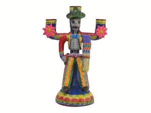 Skeleton Charro Candlestick, pottery sculpture