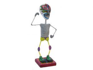 Skeleton Luchador Wrestler, Mexican pottery figurine #1