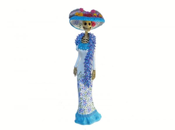 La Catrina in White Gown, Mexican Pottery, 18-inch REPAIRED