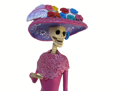 La Catrina in Fuchsia Colored Gown, Mexican Pottery, 17.5-inch, REPAIRED