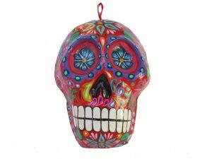 Skull Mask Wall Art, paper maché, red base, 14-inch