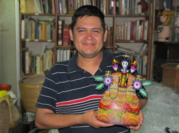Adam & Eve, Mexican Pottery Candelabra (blue-green), 27 cm.