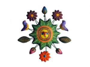 Sun, (green) Wall Art, Mexican pottery from Izucar de Matamoros, 4.5 inches wide.