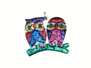 Two Owls, Mexican tin ornament