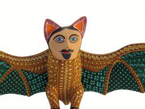 Nahual Bat, wood carving, green wings, 12-inch wide