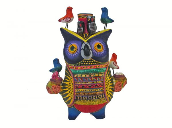 Owl Candlestick, purple face, 6-inch