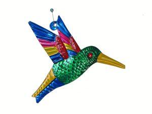 Hummingbird, green, Mexican tin ornament