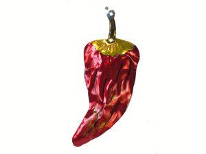 Chile Poblano Red Pepper, Mexican tin ornament