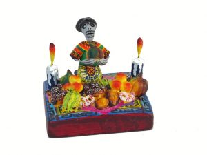 Skeleton Market Lady, Mexican pottery figurine