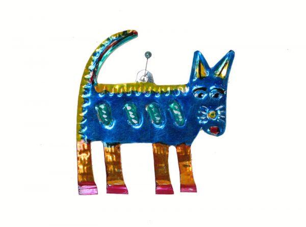 Cat, blue, Mexican tin ornament